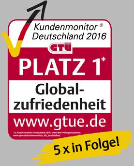 GTÜ - Platz 1 Globale Zufriedenheit 2016, 5 x in Folge!
